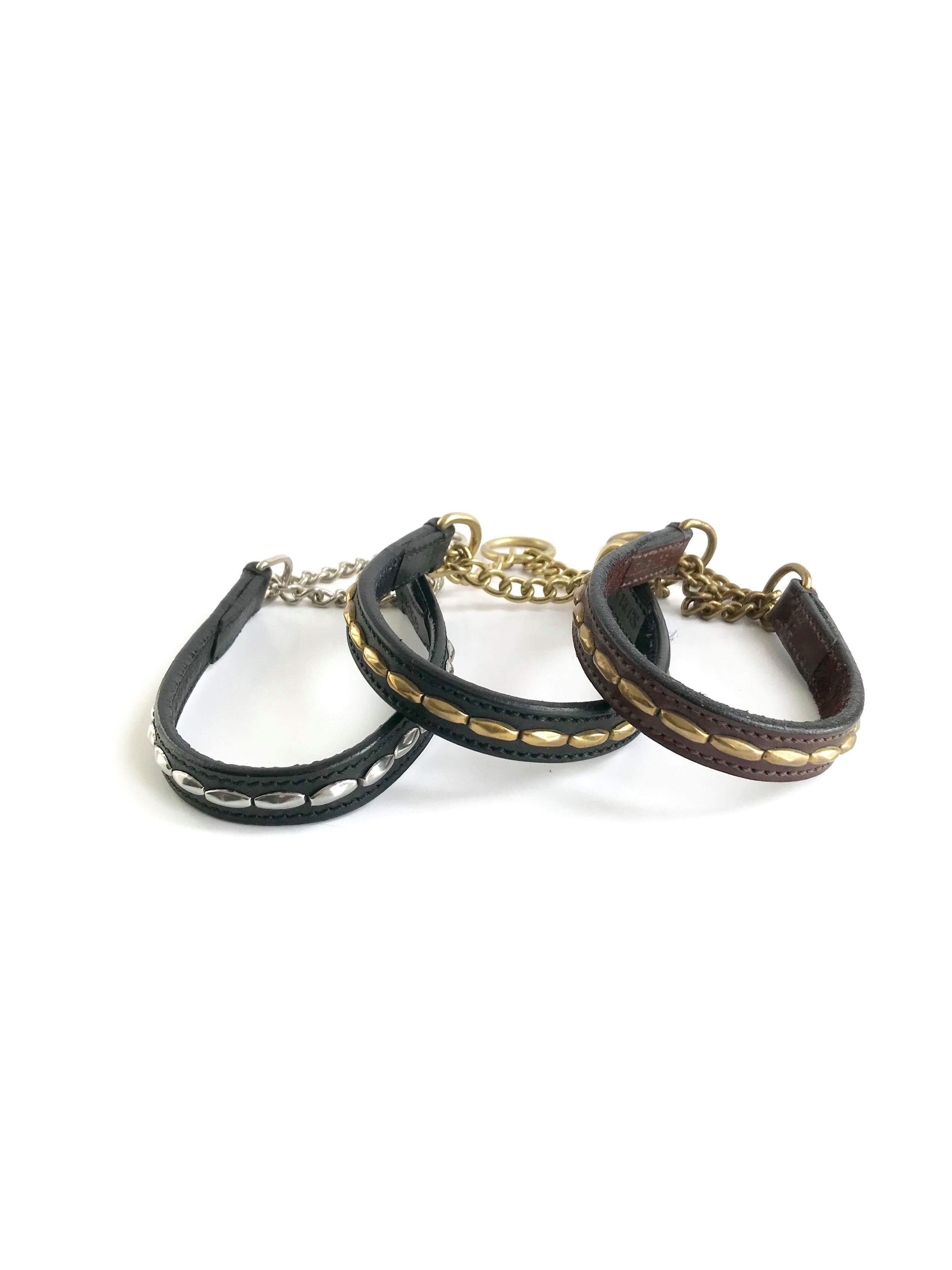 Eckers läderhalsband med guld-   silvernitar a67261a6f7735